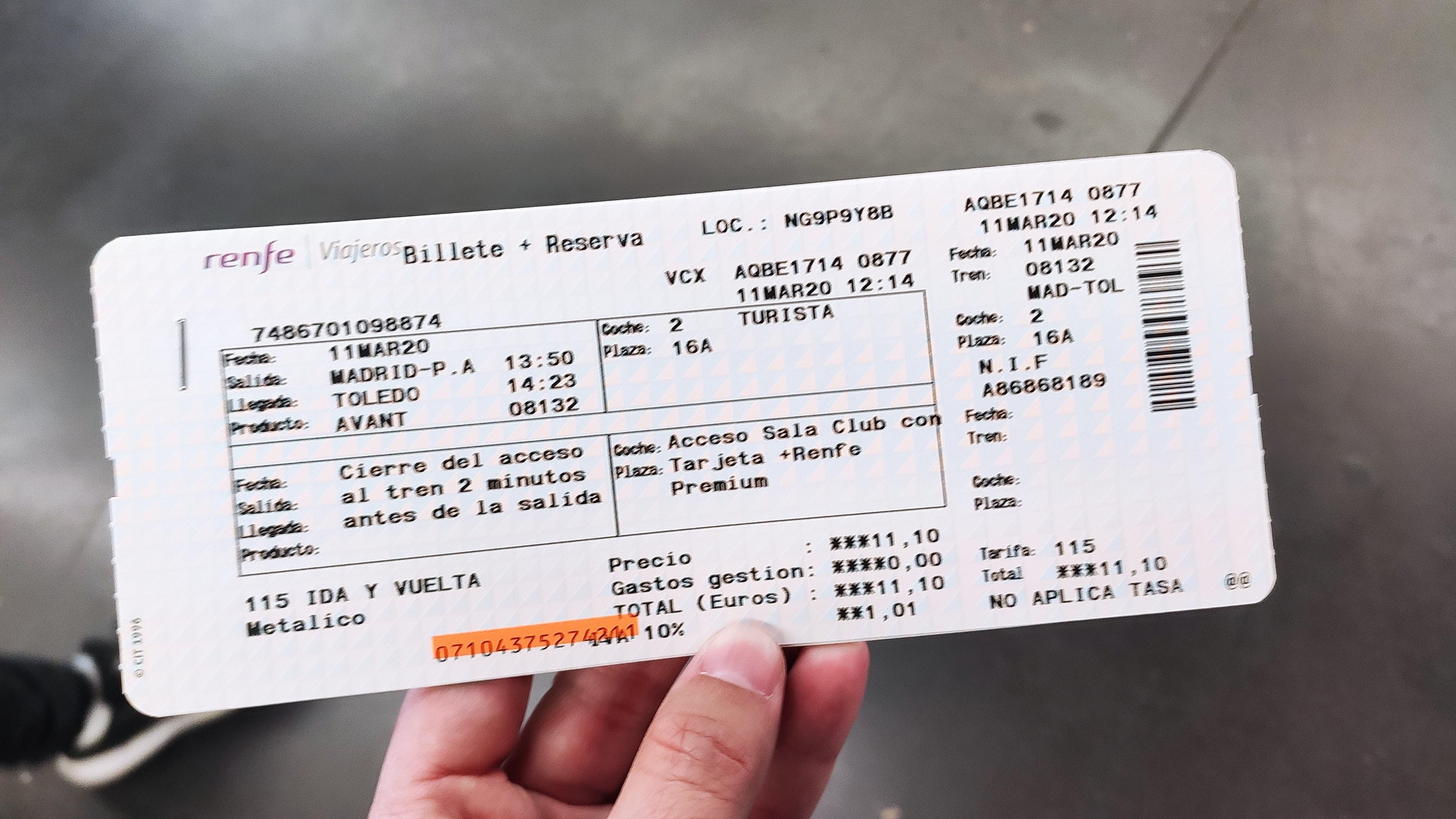 Boleto de tren renfe desde Madrid a Toledo de 11,10 euros cada tramo.
